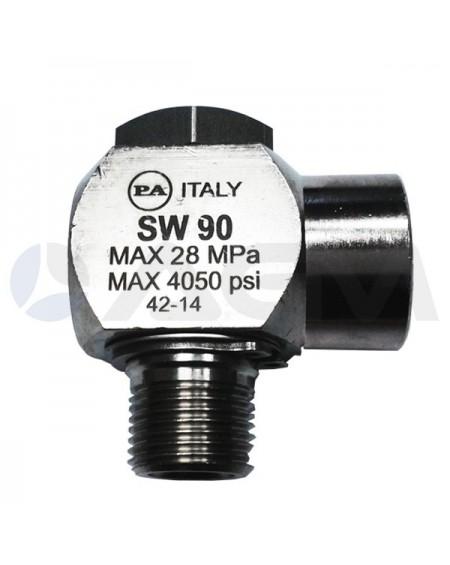 "RACOR 90° GIRATORIO INOX SW90 G. 3/8""M-G. 3/8""H"
