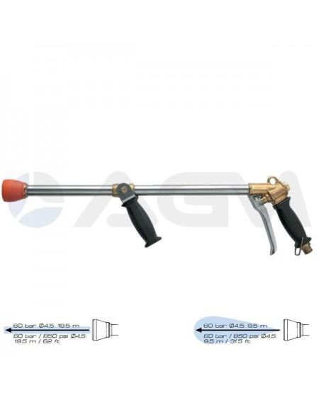 """LANZA LARGO ALCANCE 700mm ANGULO VARIABLE CON BOQUILLA Ø4.5 E. G. 1/2""""M."""