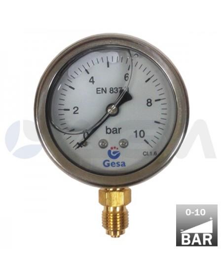 "MANOMETRO VERTICAL GLICERINA ALTA PRESION  Ø63 0-10 BAR CARCASA INOX. CONEXION RADIAL DE LATON G. 1/4""M."