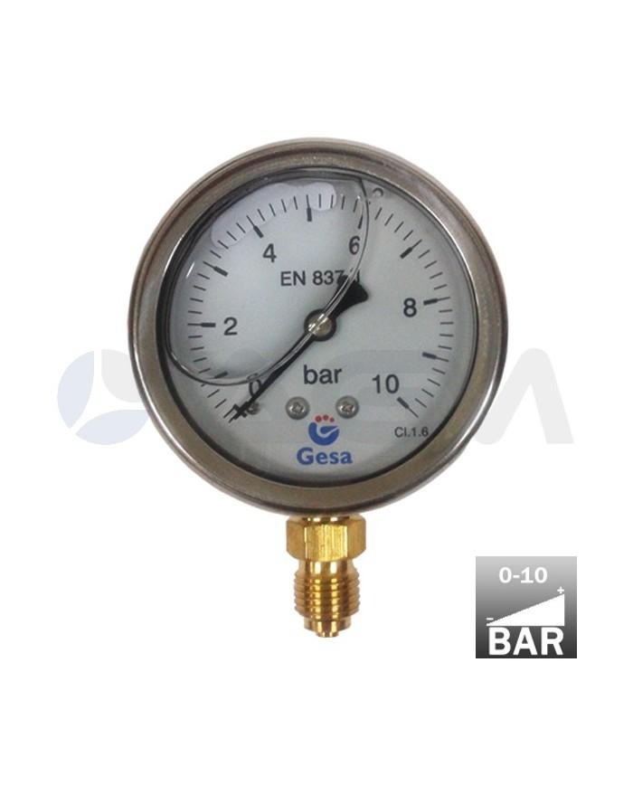 Man metro vertical glicerina 63 0 10 bar inox lat n g 1 4 m for Manometro para medir presion de agua