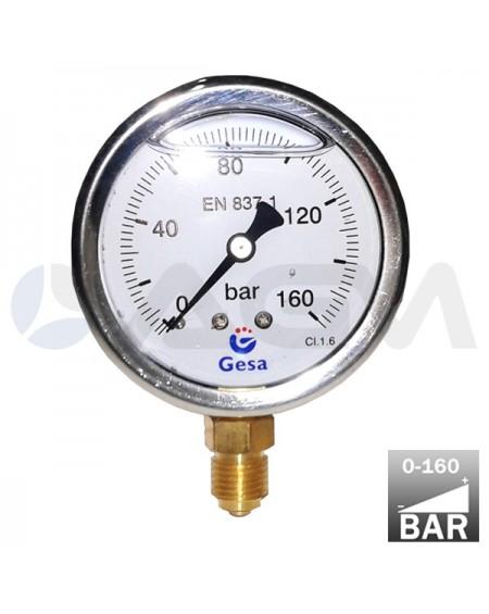 "MANOMETRO VERTICAL GLICERINA ALTA PRESION  Ø63 0-160 BAR CARCASA INOX. CONEXION RADIAL DE LATON G. 1/4""M."