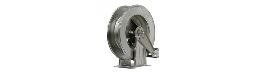 Enrollador automatico inox. Automatic spring driven hose reels stainless steel. Enroleur automatique inox.