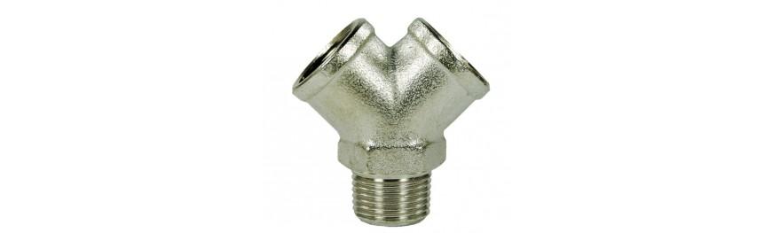 Distribuidores en Y de alta presión de latón. Presión máxima 150 Bar.